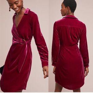 NWT Anthropologie Velvet Shirt Dress Raspberry 6